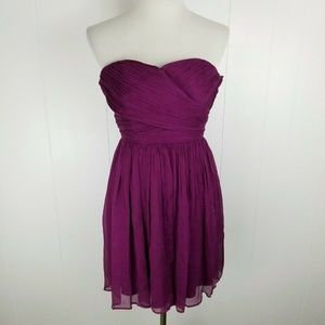 J Crew Silk Chiffon Ruched Purple Arabelle Dress